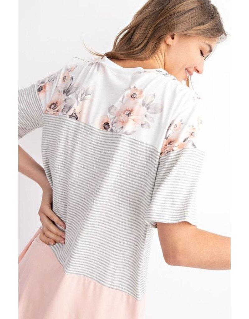 143 Story Top-Floral, Stripe & Color Block V-Neck, Short Sleeves