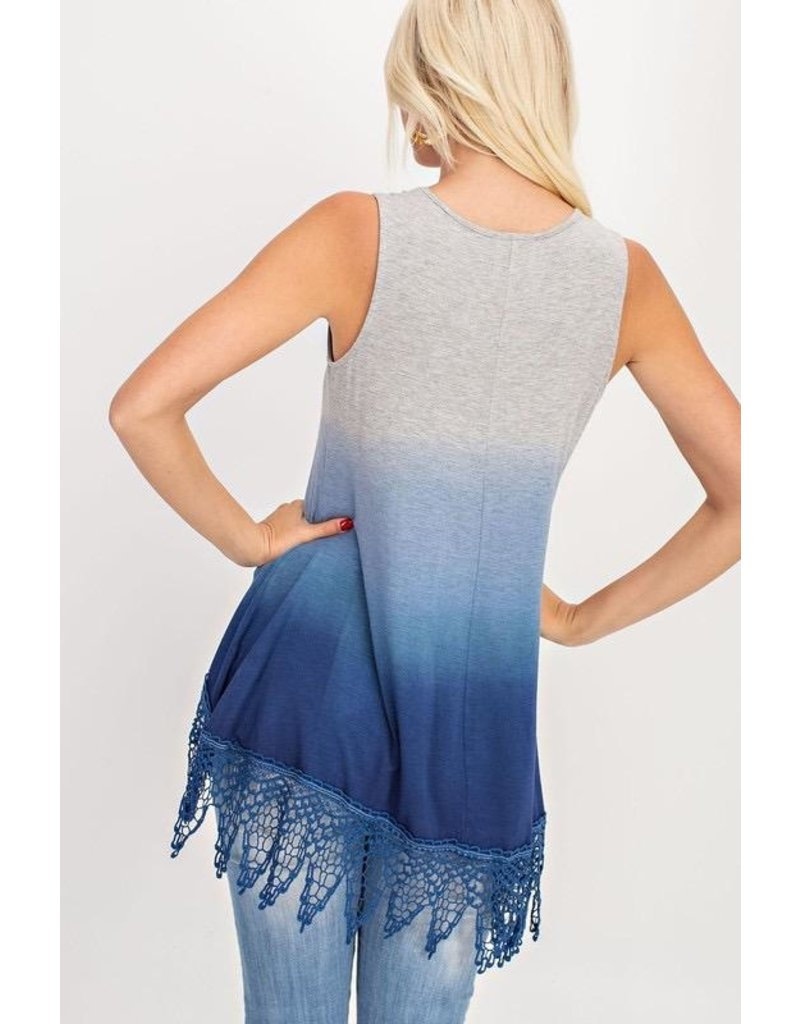 143 Story Top-Sleeveless Vest, Dip Dyed with Lace Hem