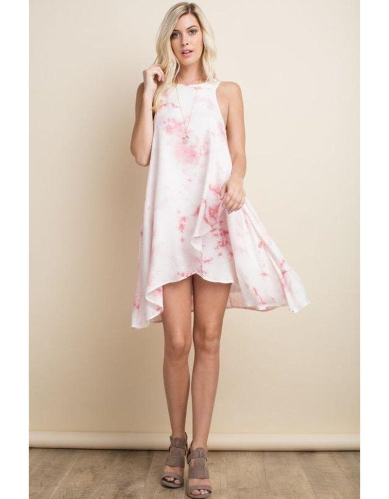 143 Story Dress-Woven, Tie Dye, Plunging Back & Spaghetti Ties
