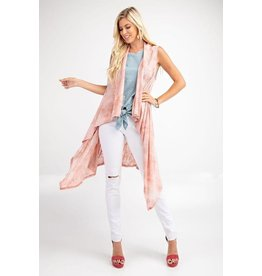 143 Story Kimono Cardigan-Sleeveless Tie Dye Waterfall