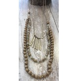 Anzell Fashion Necklace-Color Beads w/Gold Strips 3-layer, GOLD/BEIGE