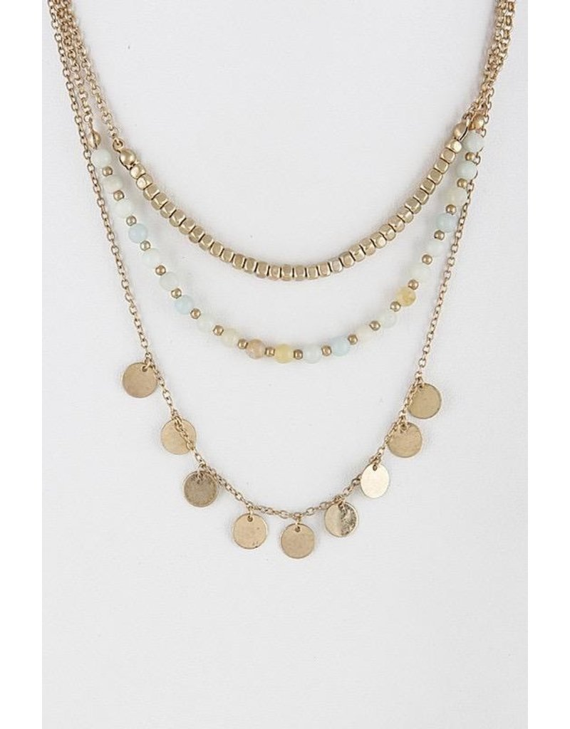 Anzell Fashion Necklace & Earrings SET-Metallic Circles & Stones 3-Layer, MINT
