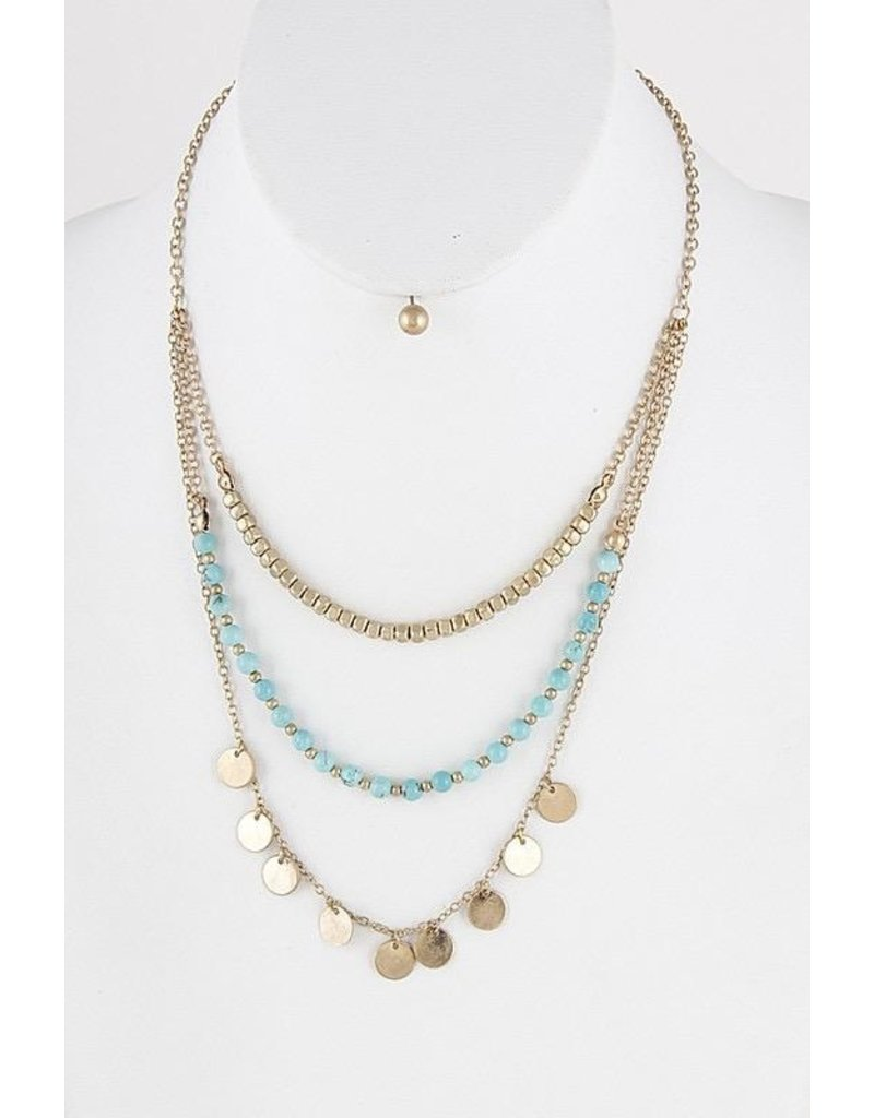 Anzell Fashion Necklace & Earrings SET-Metallic Circles & Stones 3-Layer, TURQUOISE