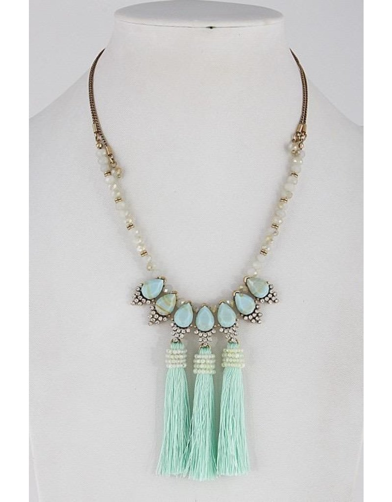 "Anzell Fashion Necklace-Opulent, Elegance w/3 Tassels (20"") MINT"