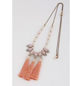 """Necklace-Opulent, Elegance w/3 Tassels (20"""") PINK"""