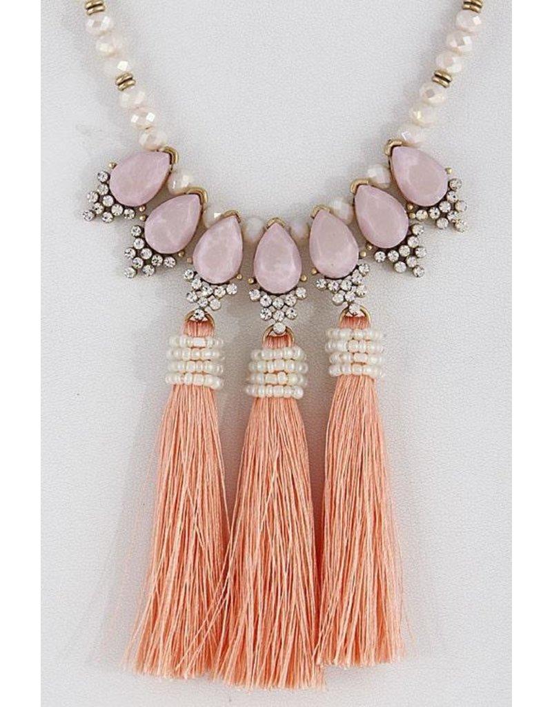 "Anzell Fashion Necklace-Opulent, Elegance w/3 Tassels (20"") PINK"