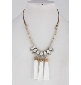 "Anzell Fashion Necklace-Opulent, Elegance w/3 Tassels (20"") WHITE"
