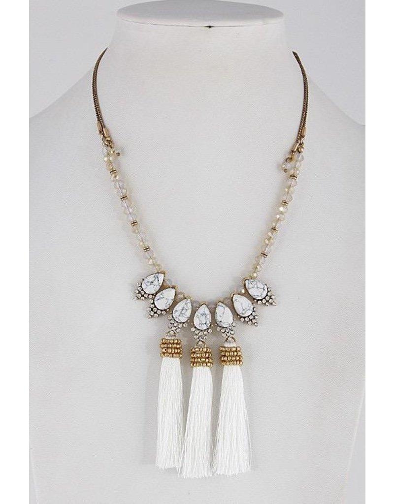 "Anzell Fashion Necklace-Opulent, Elegance w/3 Tassels (20"") WHITE"