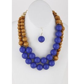 "Anzell Fashion Necklace & Earrings SET-Large Wood Beads, 2 Layer (20""), BLUE"
