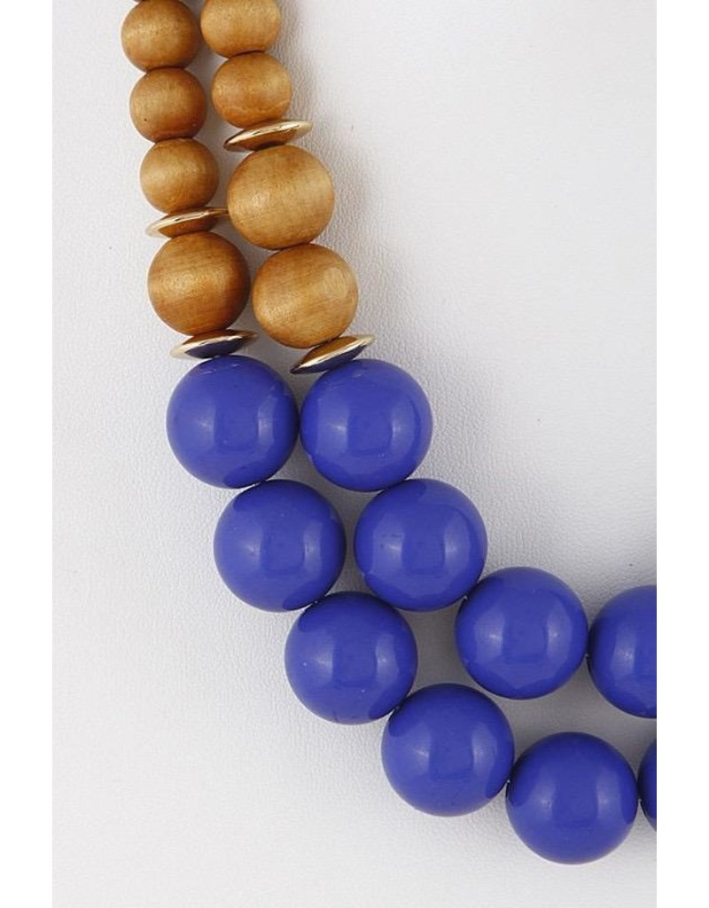 """Anzell Fashion Necklace & Earrings SET-Large Wood Beads, 2 Layer (20""""), BLUE"""