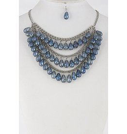 "Anzell Fashion Necklace & Earrings SET-Layered Glass Look Teardrop (16""), BLUE"
