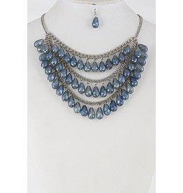 """Necklace & Earrings SET-Layered Glass Look Teardrop (16""""), BLUE"""