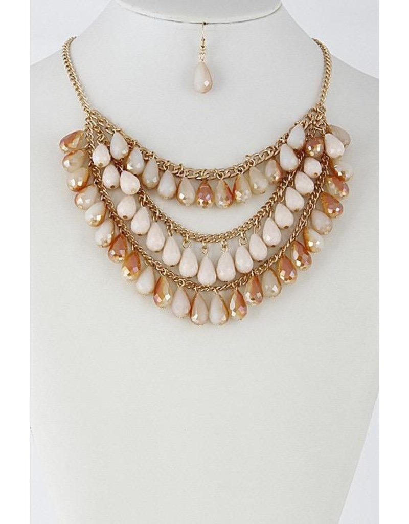 """Anzell Fashion Necklace & Earrings SET-Layered Glass Look Teardrop (16""""), CHAMPAGNE"""