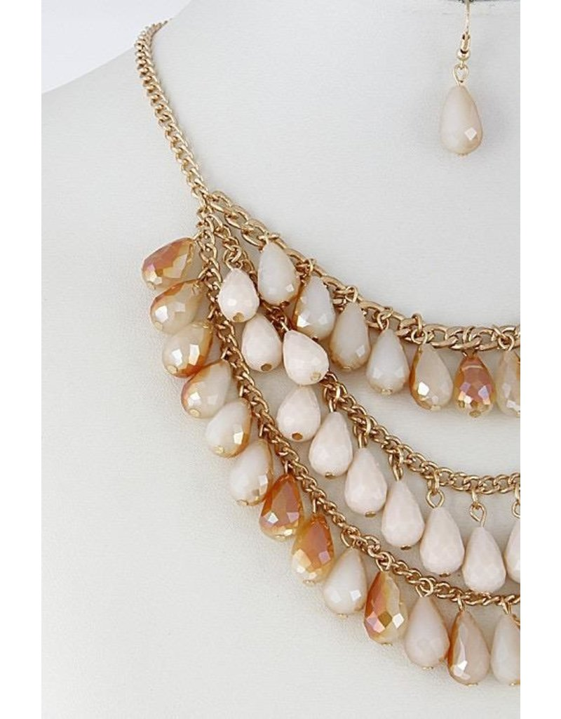 """Necklace & Earrings SET-Layered Glass Look Teardrop (16""""), CHAMPAGNE"""