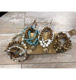 Anzell Fashion Bracelet-Stretch Stack (3) Roman Coin, & Semi-Precious Stones