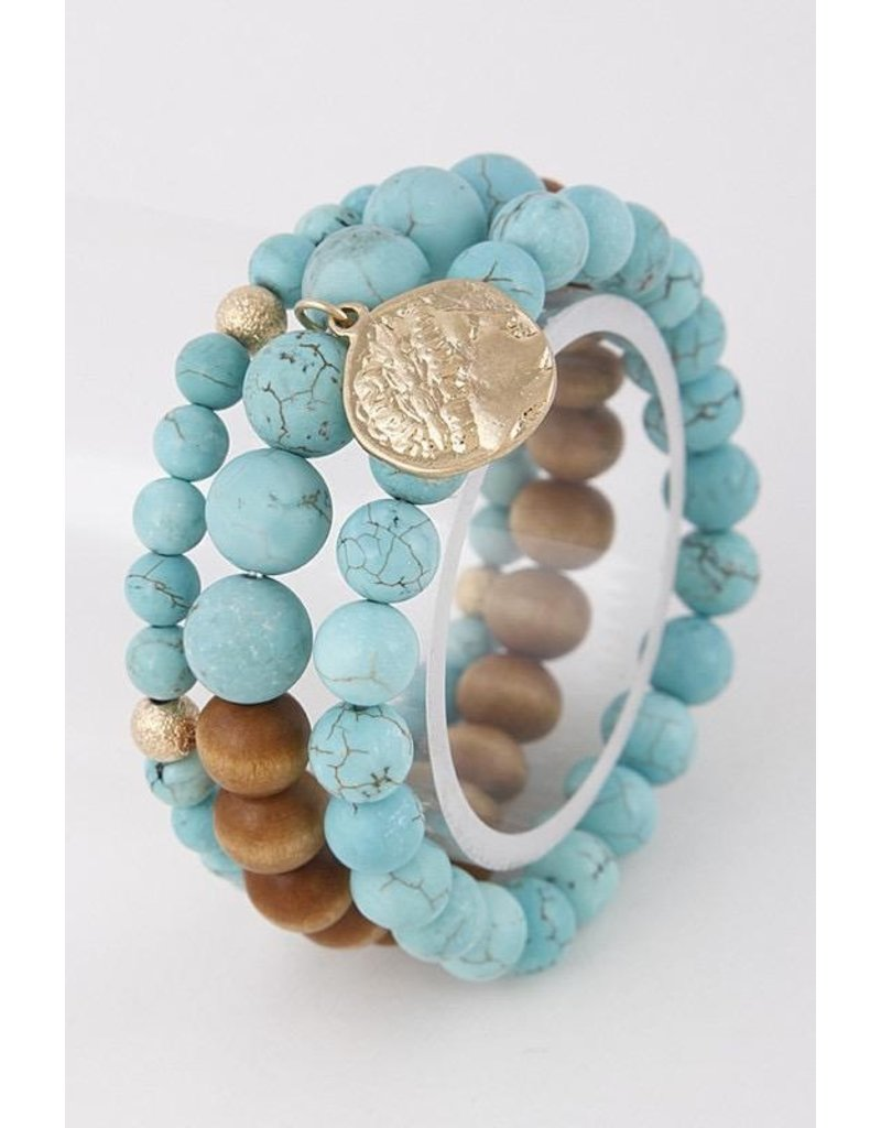 Anzell Fashion Bracelet-Stretch Stack (3) Roman Coin, & Semi-Precious Stones
