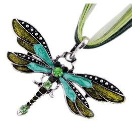 Necklace-Silver Dragonfly Pendant on Ribbon, GREEN