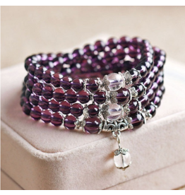 Bracelet Wrap-Buddhist Amethyst, 108 Mala Beads