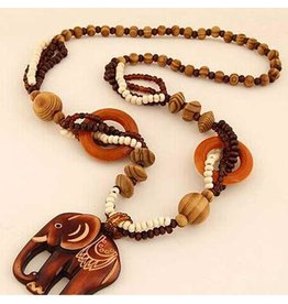 Necklace-Boho Wood Beads & Carved Elephant