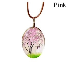 Necklace-Glass Painted Blossom Tree & Butterfly on Cord-PINK