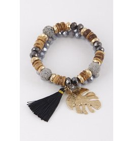 Anzell Fashion Bracelet-Stretch Stack (2) Beads, Lava Stones, Leaf Charm & Tassel, GOLD/BLACK