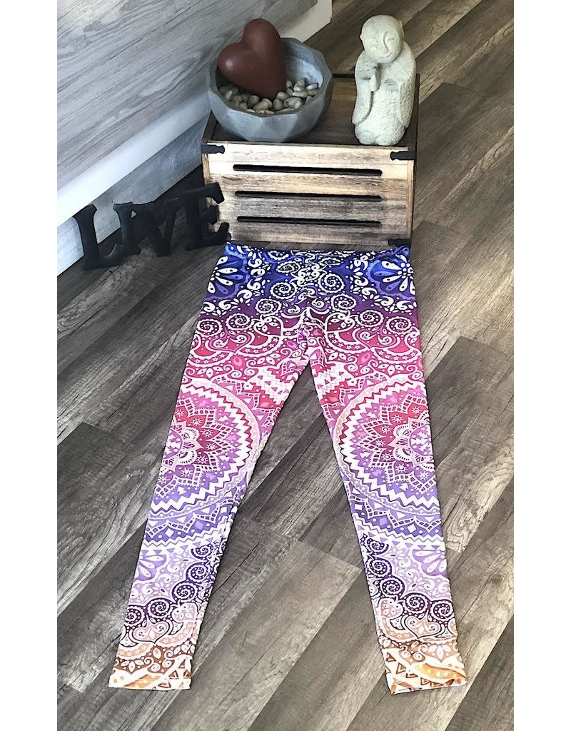 Leggings-Full Leg, Mandala Purple, (One Size)