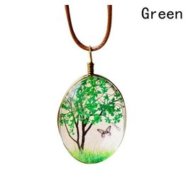 Necklace-Glass Painted Blossom Tree & Butterfly on Cord-GREEN