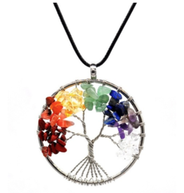 Necklace-Tree of Life, 7-CHAKRA Root Pendant w/Black Cord