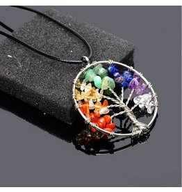 Necklace-Tree of Life, 7-CHAKRA Slim Pendant w/Black Cord