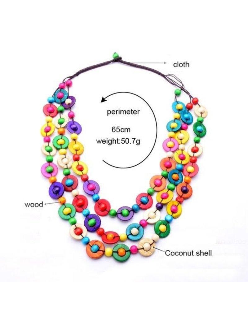 Necklace-Boho Braided Coconut Shell Beads