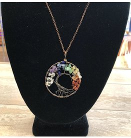 Necklace-Tree of Life, 7-CHAKRA Pendant w/Copper Chain