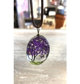 Necklace-Glass Painted Blossom Tree & Butterfly on Cord-PURPLE