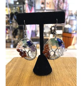 Earrings-Tree of Life, 7-CHAKRA, Silver