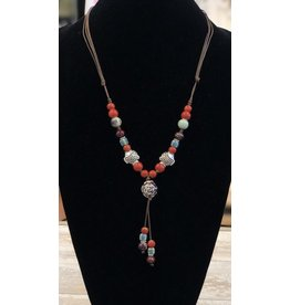 Necklace-Ceramic Beads, long, RED