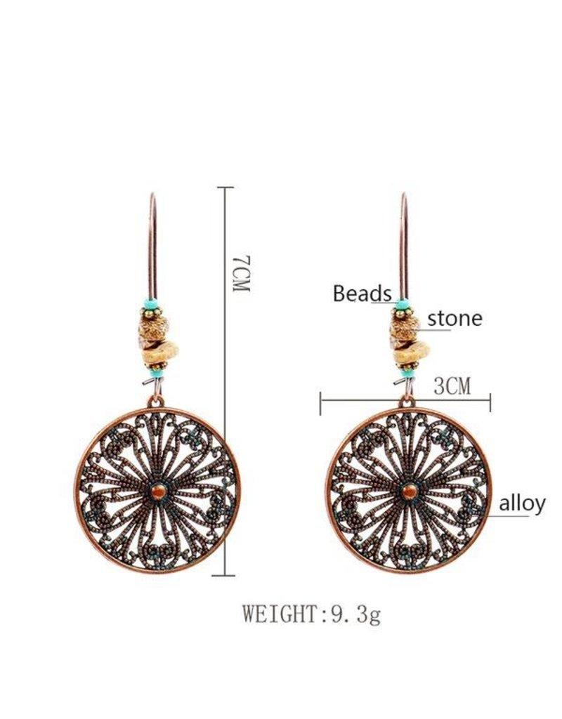 Earrings-Long Drop Vintage Circle