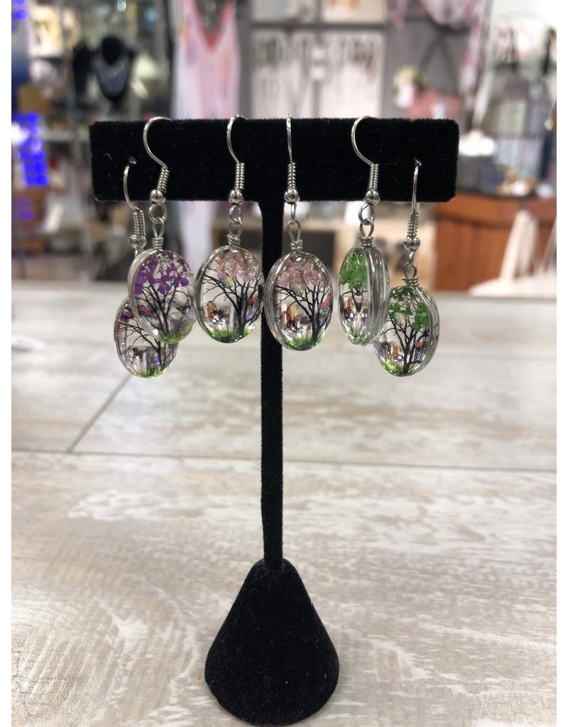 Earrings-Glass Painted Blossom Tree