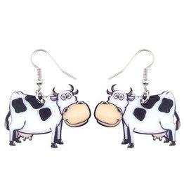 Earrings-Acrylic Black & White Cows