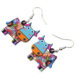 Earrings-Acrylic Funky Color Cows