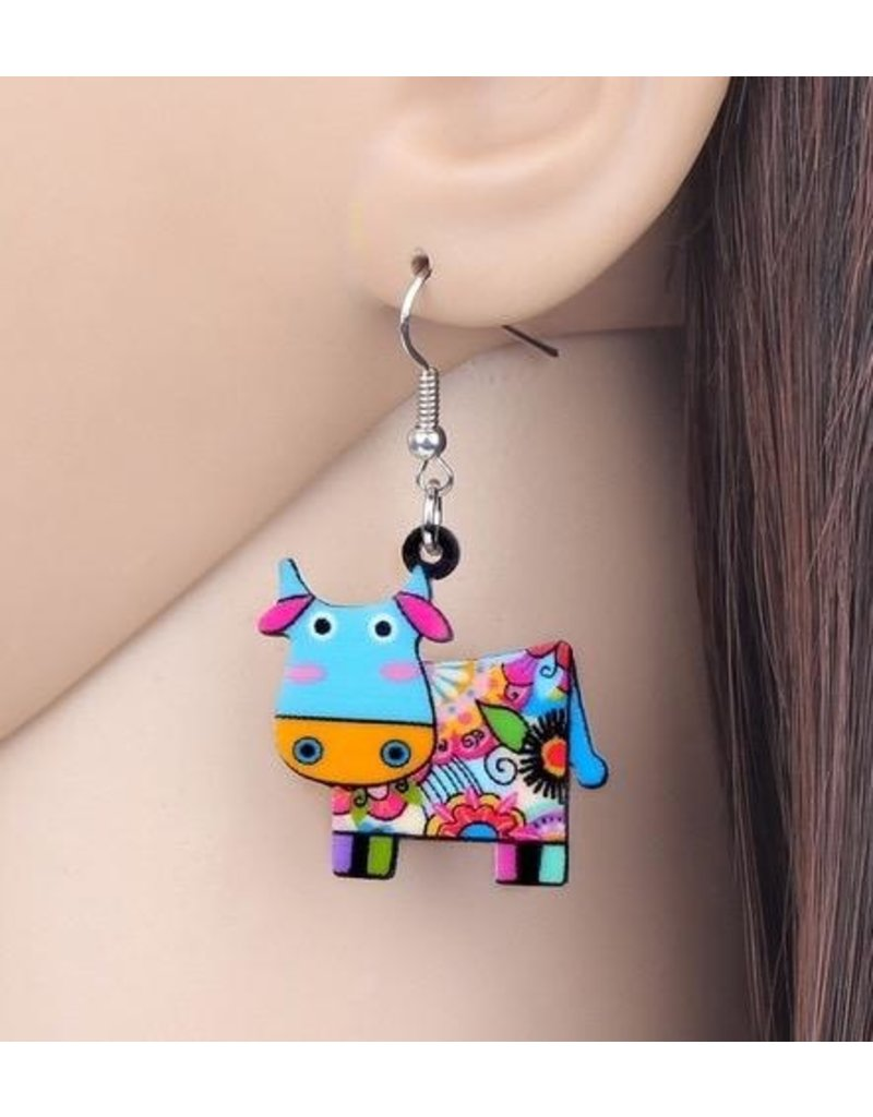 Earrings-Acrylic Funky Color Cows