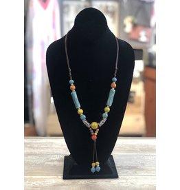 Necklace-Ceramic Beads, long, Sautoir-Multi Color