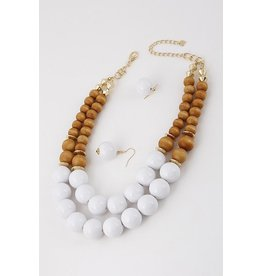 "Anzell Fashion Necklace & Earrings SET-Large Wood Beads, 2 Layer (20""), WHITE"