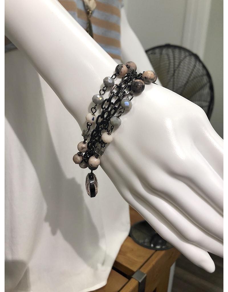 Lula n Lee Bracelet-Pink Crystal & Chain w/Crystal Pendant
