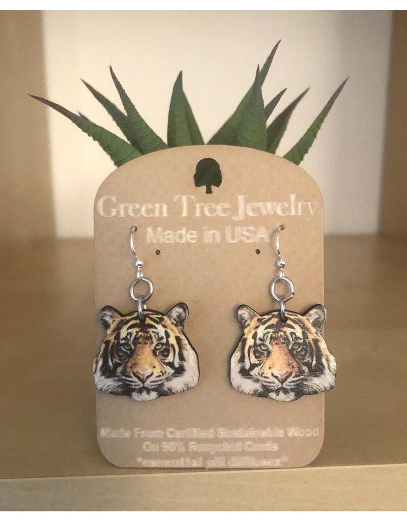 Green Tree Earrings Wood-Detailed Tiger Digital