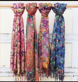 Art Studio Company Scarf Fringed-Watercolor Flowers