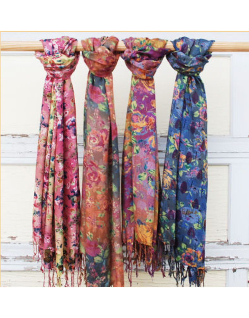Art Studio Company Scarf Fringed-Watercolor Flowers