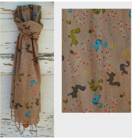Art Studio Company Scarf Cotton-SQUIRREL (Tan)
