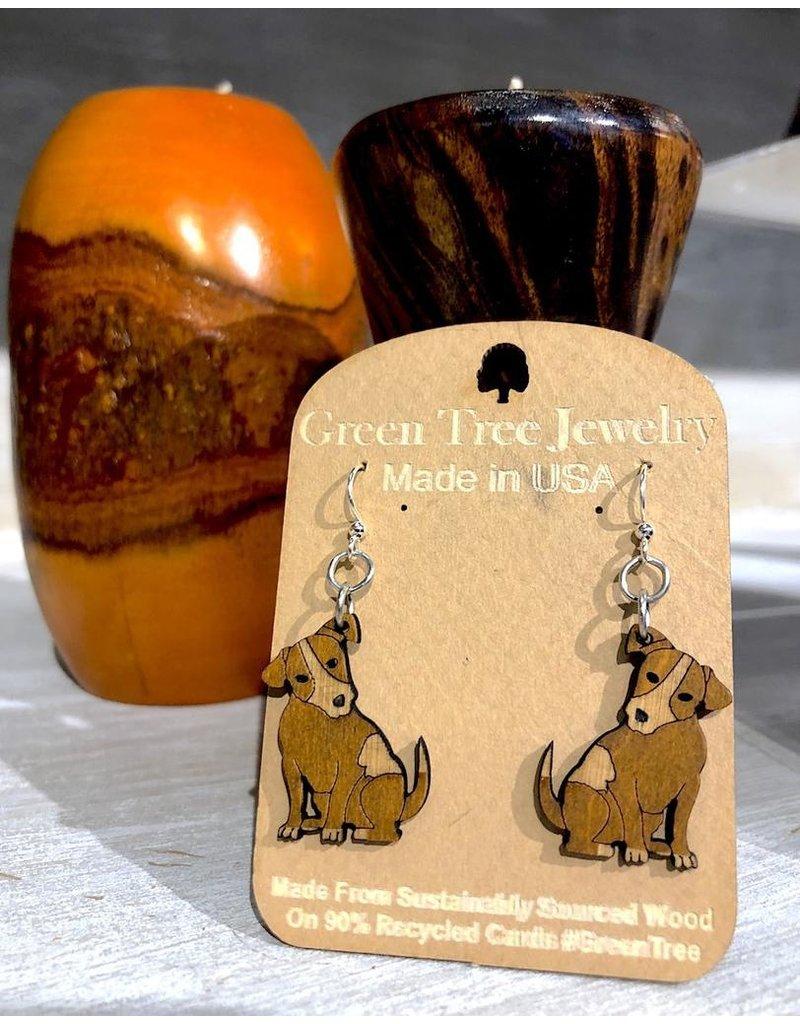 Green Tree Earrings Wood-Puppy