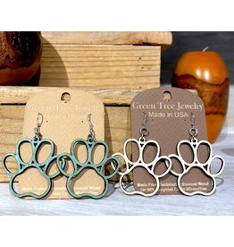 Green Tree Earrings Wood-Dog Paw