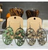 Green Tree Earrings Wood-Palm Tree