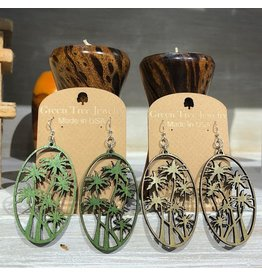 Green Tree Earrings Wood-Palm Tree
